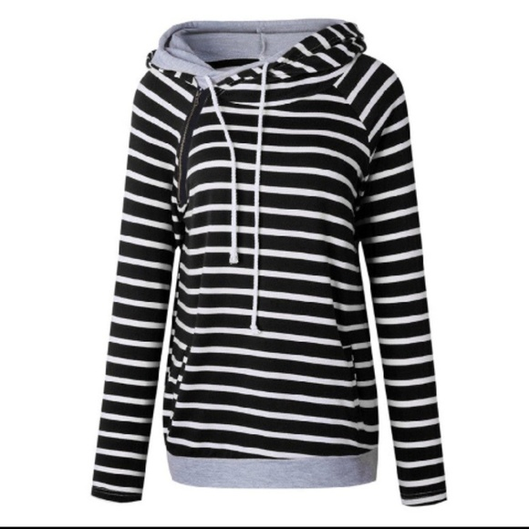 387240d17f84c Tops | Striped Cowl Neck Double Hooded Hoodie | Poshmark